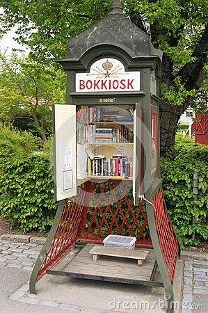 """""""Book Kiosk"""" in Sigtuna, Sweden. Its a free public library where people exchange books. The idea is catching on across the world. Sigtuna is Sweden's oldest town and an easy day trip from Stockholm and a short drive from Stockholm Arlanda Airport."""