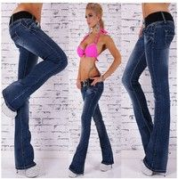 Wish | Plus Size S-2XL New Sexy Women's Hipster Jeans Blue Wash Jeans Bootcut Without Belt Demin Pants