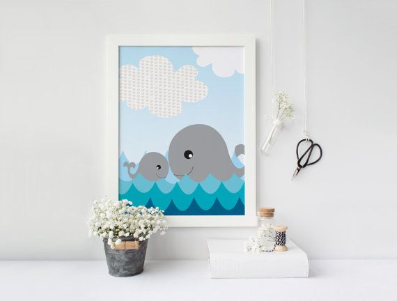 Nursery art  Whale and her baby  Nursery by aTypeOfInspiration