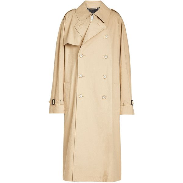 Vetements Oversized Cotton Trench ($4,050) ❤ liked on Polyvore featuring outerwear, coats, beige, oversized trench coat, beige trench coat, beige coat, cotton trench coat and cotton coat