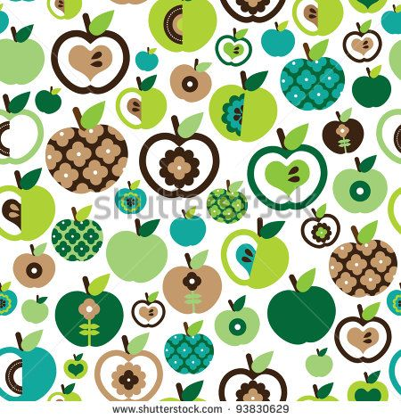 Seamless cute green retro apple pattern in vector - stock vector