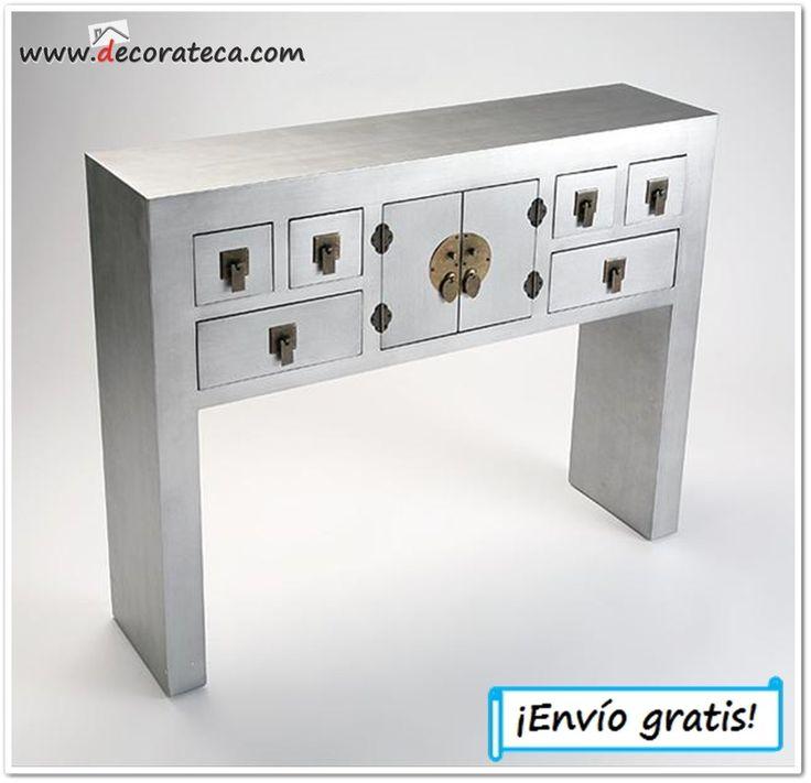 Consola de madera gris osaka bonito mueble recibidor de - Consola muebles entrada ...