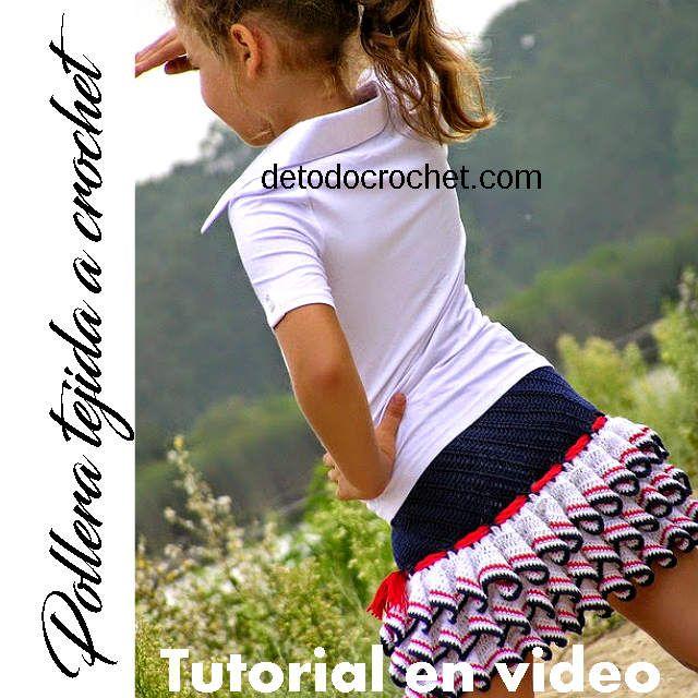 Pollera tejida a crochet con dos partes bien diferenciadas. Una que ajusta la cadera y está tejida en diagonal, y la otra que le agrega el ...