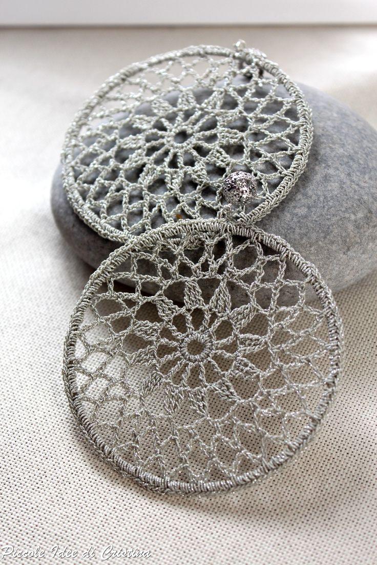 Orecchini ad uncinetto - lamè argento