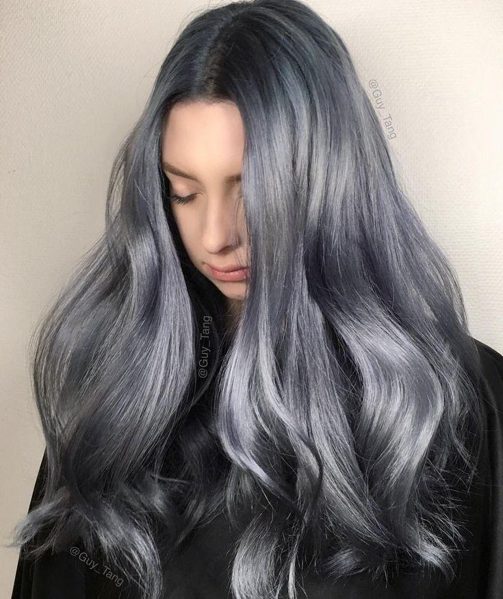 Metallic Denim Hair Color by Guy Tang