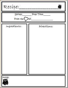 recipe template - Buscar con Google