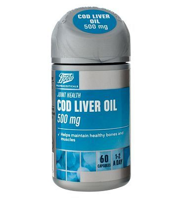Boots Pharmaceuticals Boots COD LIVER OIL 500 mg 60 Capsules 10149565 8 Advantage card points. Boots Cod Liver Oil and Fish Oil Blend with Vitamins A D Food Supplement 60 Capsules FREE Delivery on orders over 45 GBP. (Barcode EAN=5045097865915) http://www.MightGet.com/april-2017-1/boots-pharmaceuticals-boots-cod-liver-oil-500-mg-60-capsules-10149565.asp
