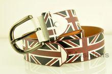 Бесплатная доставка 2014 мода искусственной кожи ремень для мужчины для повседневная одежда металлический штырь-пряжка флаг печать британский стиль ремень(China (Mainland))
