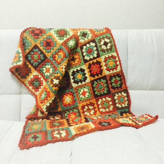 Etsy の Autumn Color Blanket by noricrochet #yarn #crochet #handmade #blanket