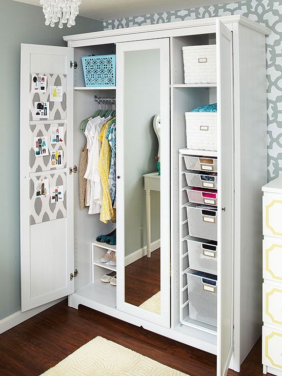 Need a place to keep everything together but lack closet space? How about a substitute closet with pull out drawers and shelves for baskets. Perfect for keeping items together.