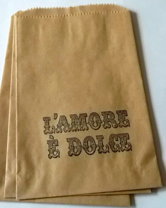 "50 brown retro ""L'Amore e Dolce"" - Love is Sweet - Italian Wedding -candy buffet bags - wedding cake bags,candy station bags, favor bags"
