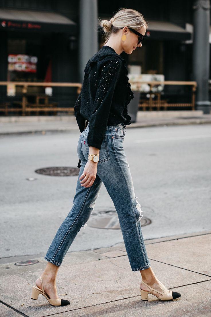 Blonde Woman Wearing Madewell Black Eyelet Blouse Levis Denim Ripped Skinny Jeans Chanel Slingbacks Fashion Jackson Dallas Blogger Fashion Blogger Street Style