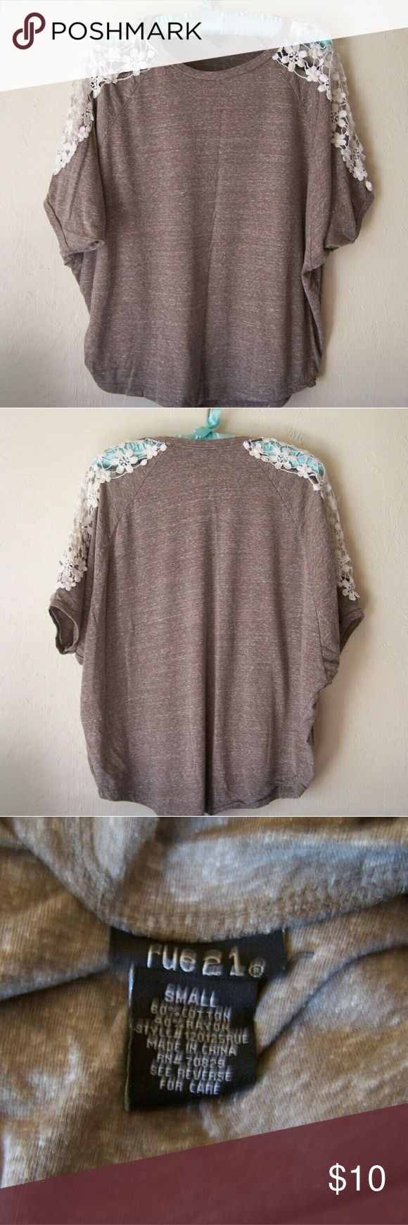 Heathered Brown Batwing | Lace Sleeves A beautiful heathered brown/tan batwing style blouse.  Made of soft t-shirt type material with cream crocheted inserts on tops of both sleeves.  No signs of wear. Tops