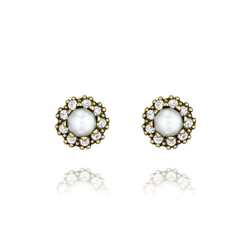 Pearl + Pave Stud Earrings