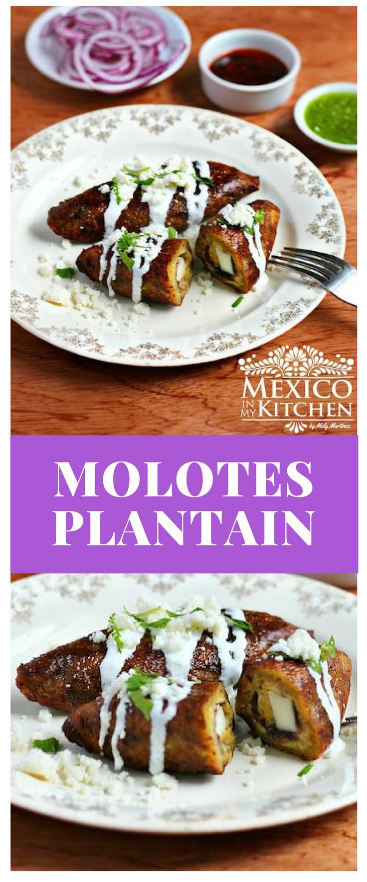 This recipe for Molotes Plantain is from the southern State of Oaxaca in Mexico. Molotes are stuffed with cheese and formed in a process similar to that of an empanada, except they have an oblong shape instead #mexican #recipe #food #antojitos #kitchen