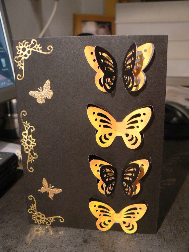 4  vlinder kaart zwart