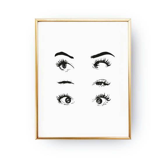Eyes Wink Print, Makeup Art, Makeup Illustration, Illustration Poster, Fashion Poster, Wardrobe Art, Home Decor, Eyelashes, Bedroom Decor – makayla page
