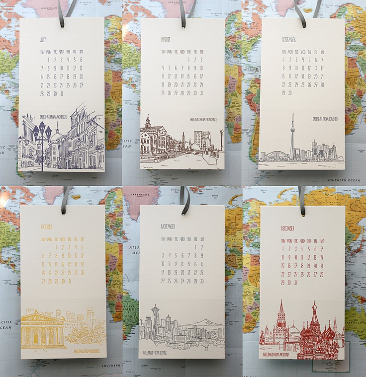 2013 Letterpress Cityscape Postcard Wall Calendar - TWO CALENDAR SALE. $50.00, via Etsy.
