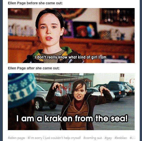 When Ellen Page came out of the closet and somone was ready:   17 Times Queer Tumblr Totally Owned 2014