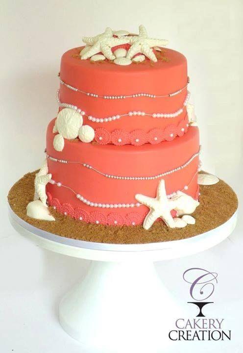 Coral beach wedding cake by Cakery Creation in Daytona Beach, FL