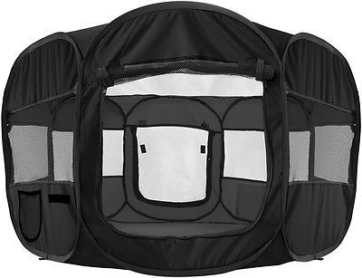 """OxGord 45"""" Pet Dog Cat Playpen Tent Portable Exercise Kennel Cage Crate BLACK"""