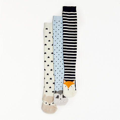 Buy John Lewis Fluffy Animal Knee Socks, Pack of 3, Blue/Multi Online at johnlewis.com