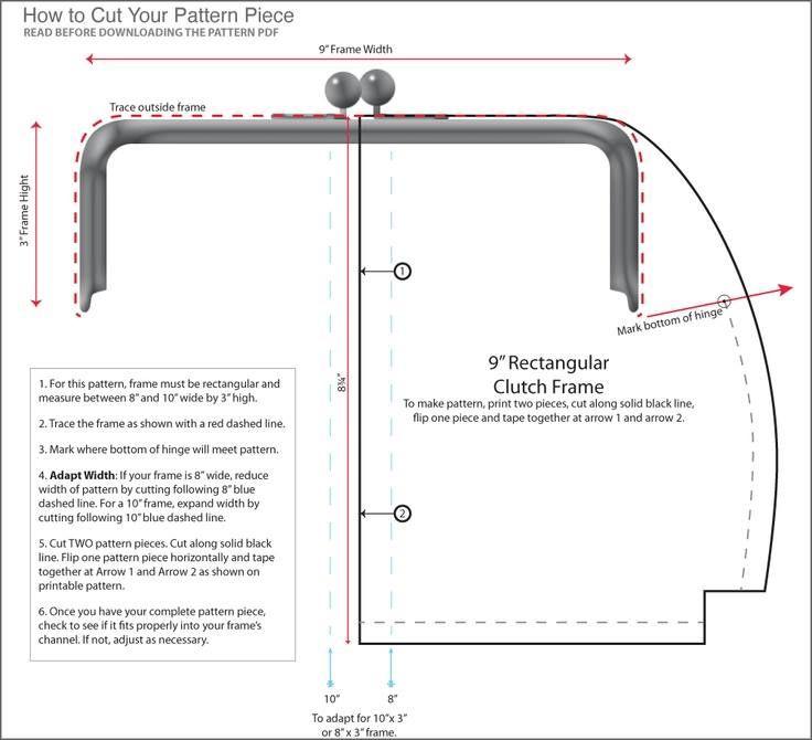 Pattern for a metallic purse frame