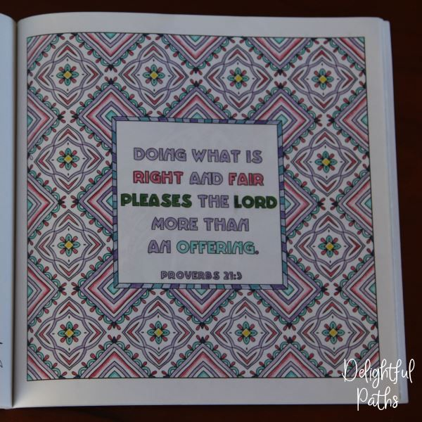 Proverbs adult coloring book from Delightful Paths Proverbs 21:3 CEV