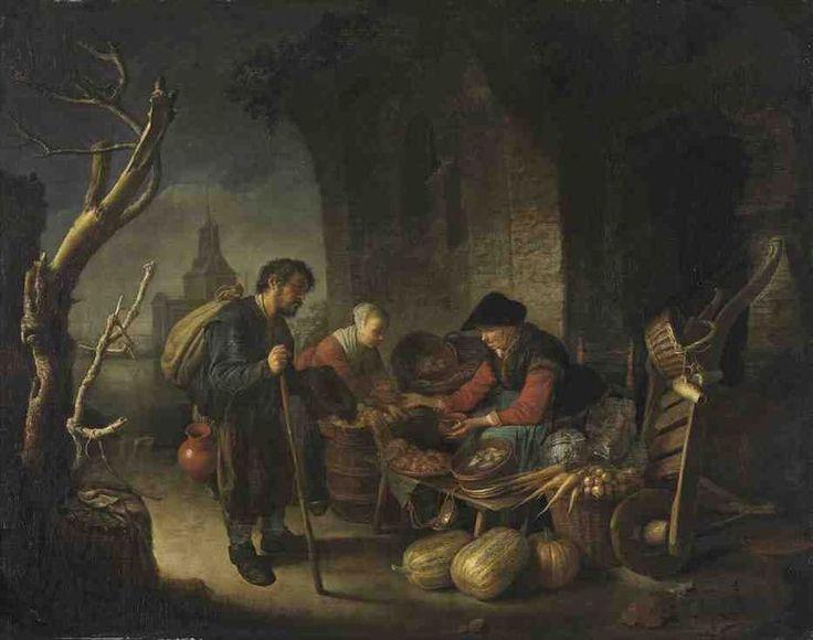 Gerrit Dou: Oude vrouw die haring en groenten verkoopt met klant en bedelaar, de Blauwpoort te Leiden in de achtergrond. 1654. Alte Pinakothek, Munich.