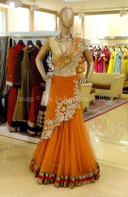 ♥Orange net lehenga choli!! ♥