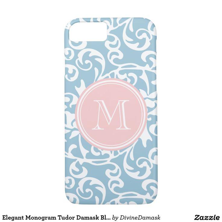 Elegant Monogram Tudor Damask Blue and Pink iPhone 7 Case