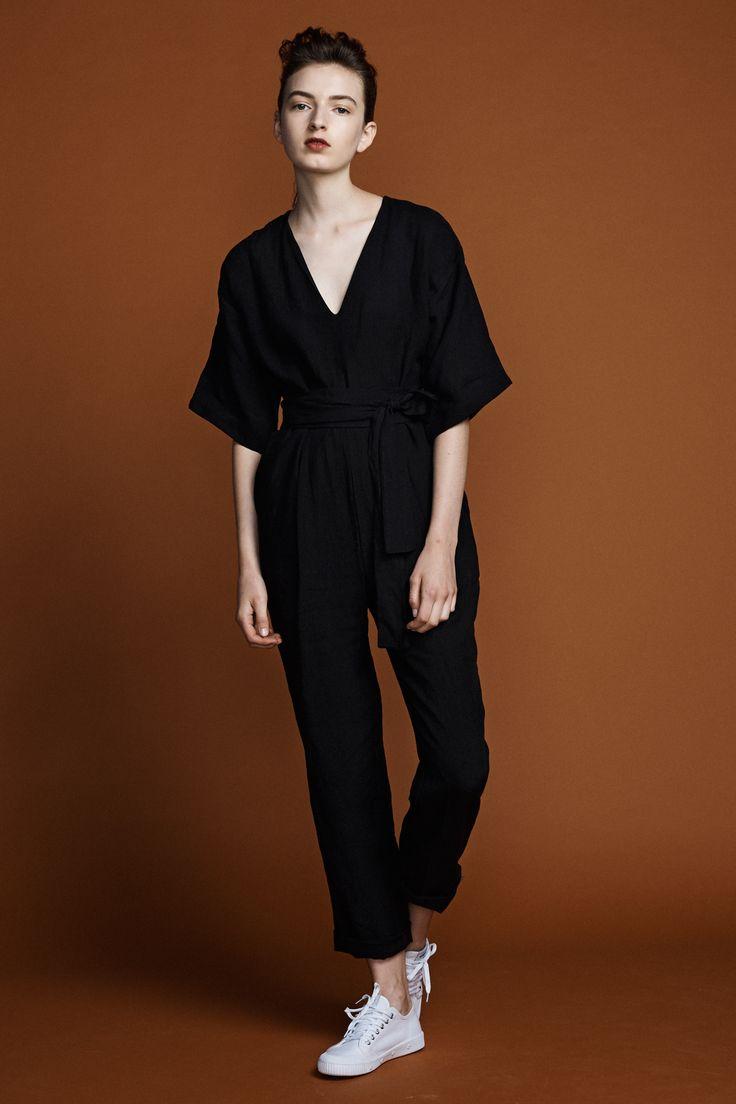 Kyoto  Jumpsuit -Black linen