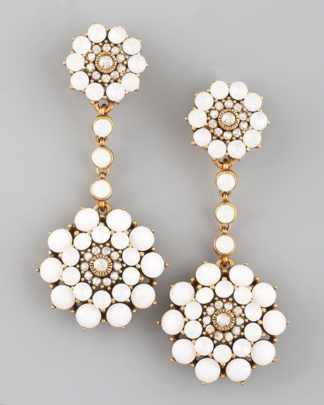 $395  Oscar de la Renta Rhinestone Drop Earrings, White   Sate your lust for luster with these bright white Oscar de la Renta earrings. A unique find, they'll offer the finishing touch to myriad different looks.•24-karat gold-plated pewter and brass.  •White glass cabochons and clear Swarovski® crystals.