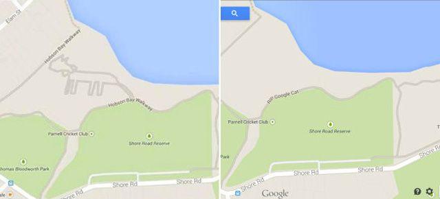 にゃ?もし、最近ニュージーランドのオークランド辺りをグーグルマップで眺めていた人がいたら、気づいたかもしれない巨大ネコちゃん。形状的に微妙なところですが、まぁネコちゃんだとしましょう。地図上に描かれた巨大ネコちゃん。しかし、オークランドの街にこんなネコちゃんのような道はもちろんありません。では一体何なの…..。ネコちゃんは一体どこから?考えられるのは2つ。1つはグーグルが自らネタとして仕込んだ。もう1つはユーザが書き加えた。前者は、ネコちゃんを削除していることから、まぁないでしょう。では、後者のユーザの手によって現れた説に関して。そもそもユーザは、マップに高速道路や一般道を書き込むことはできません。じゃ、どういうことなのさ?と言いますと、道路は書き込めないけれど、ユーザが書き込める「道」が1種類あるんですね。それは、山などにある登山道やハイキングコース! ネコちゃんの道は、まさにこの方法で描かれたのではないでしょうか。