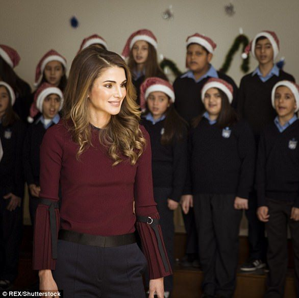 Queen Rania in a 3.1 Phillip Lim sweater, £284, and £666 Alexander McQueen trousers ...