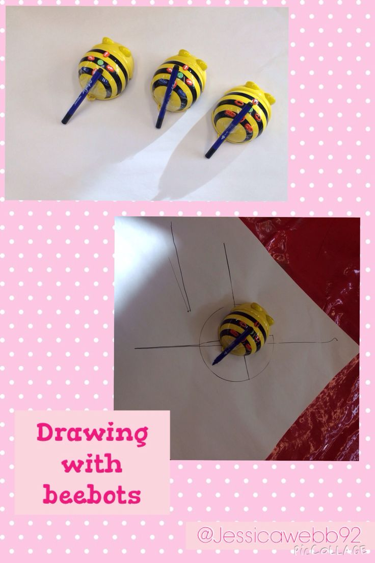 Drawing using beebots. Attach pens to beebots and they will draw as you program them.