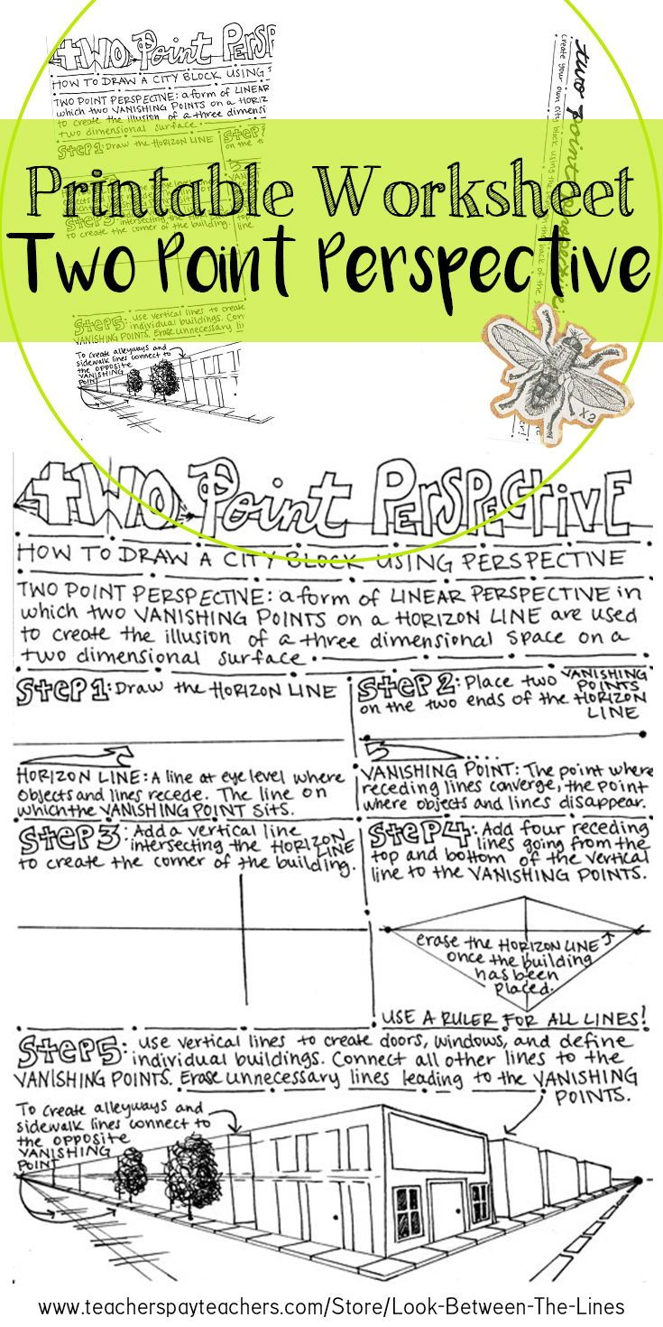 Art Drawing Basics Two Point Perspective Printable Worksheet Art Activity Perspective Drawing Lessons Two Point Perspective Perspective Lessons Istep practice worksheets grade