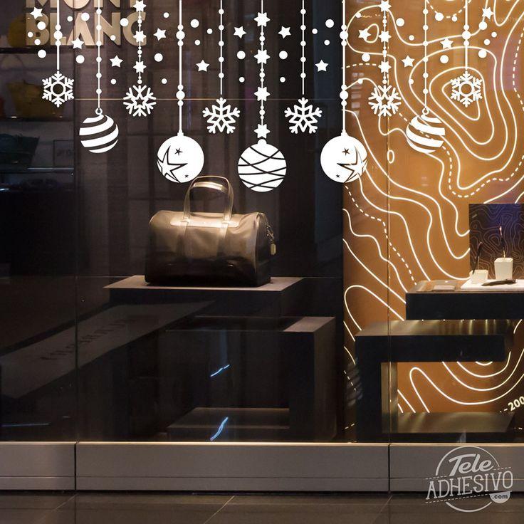 Vinilos Decorativos: Composición navideña de bolas y estrellas #escaparate #decorar #navidad #vinilo #cristal #nieve #tienda #bar #restaurante #TeleAdhesivo