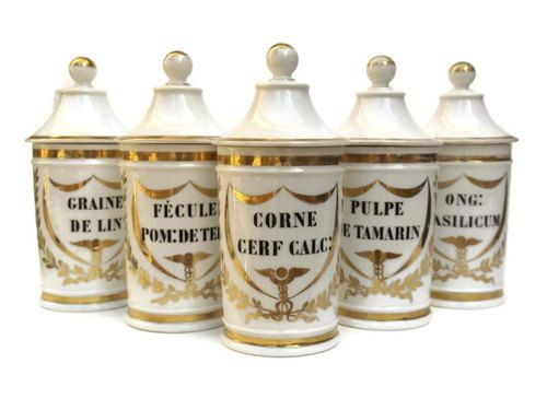 Antique Apothecary Jar Collection. French Porcelain Jar Set. Antique Medical Curiosity Cabinet Decor. White Porcelain Storage Canister Set.