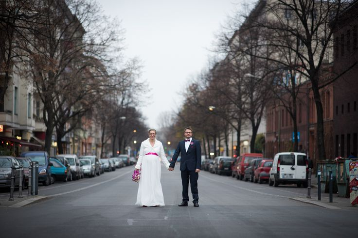 Bride and groom portrait on the streets in Berlin, Germany.