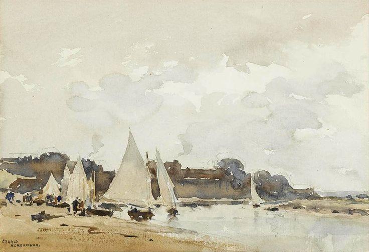 Arthur Gerald Ackermann, R.I. (1876 — 1960, UK)  An East Anglian beach.  watercolour. 17.2 x 24.6 cm. (6 3/4 x 9 3/4 in.)