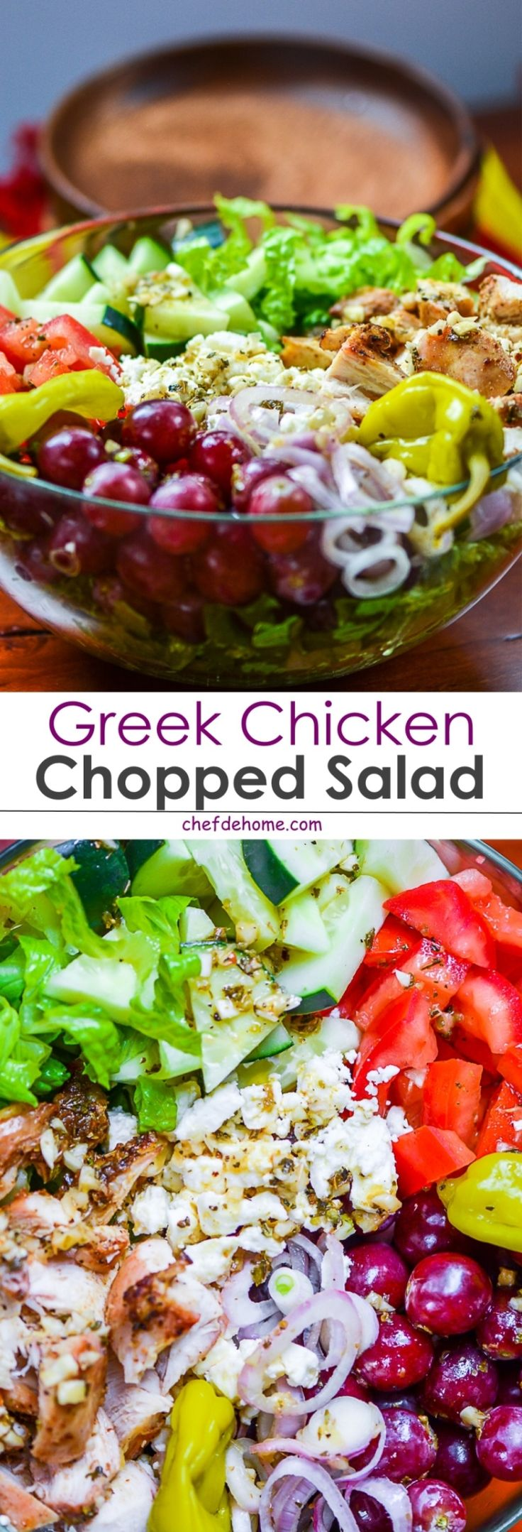 Greek Chicken Chopped Salad - A healthy carb-free salad with delicious greek chicken, veggies, sweet grapes and feta cheese! yumm!