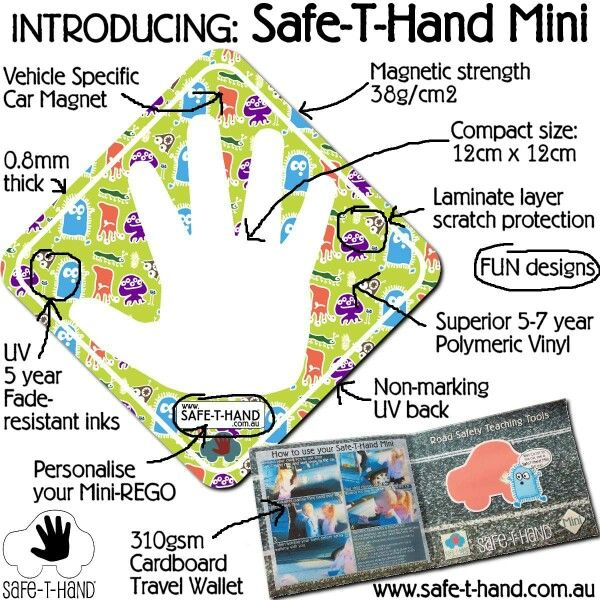 Our Safe-T-Hand Mini! Stored flat in its own wallet - the convenient way to teach #roadsafety :) Pre-order today at www.safethand.com.au  #safethandmini #roadsafety #prelaunch #fun #education #fundraise #ideas #fundraising