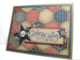"♥ the vintage quilt like look of this shabby chic Independence Day card. Features the Stampin' Up! ""Six Sided Sampler"" stamp set and ""Hexagon"" Punch. Sew gorg!"