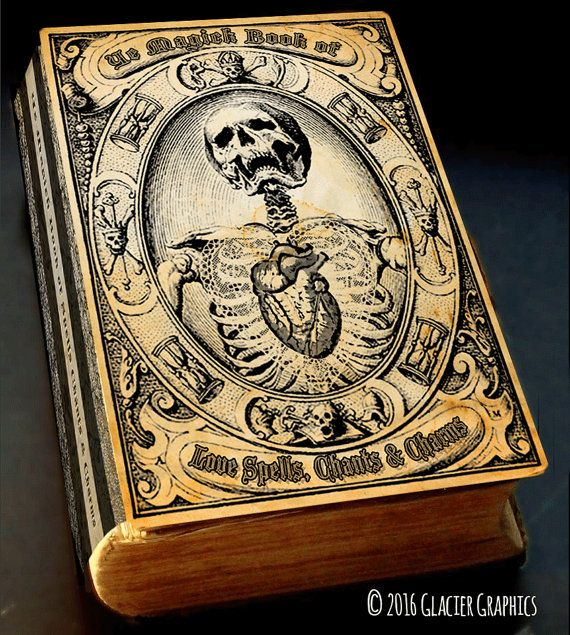 Spell Book Cover Halloween Witch Spell Book Cover Digital Download Printable Vintage Grimoire Image Scrapbook Collage Sheet Skeleton Book