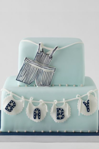 new born baby cakeClotheslines, Baby Boys Cake, Baby Shower Cakes, New Born Baby, New Born Babies, Bibs, Baby Cakes, Cake For A Baby Boys Shower, Banners