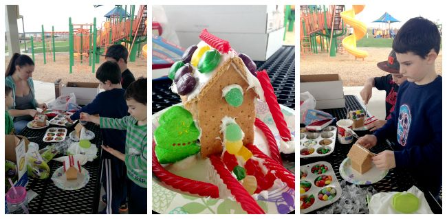 How to Make Graham Cracker Gingerbread Houses - Happiness is Homemade The snowman was totally R's creative genius. ;) We had so much fun! Thanks Heidi for pre-making all of those gingerbread houses!