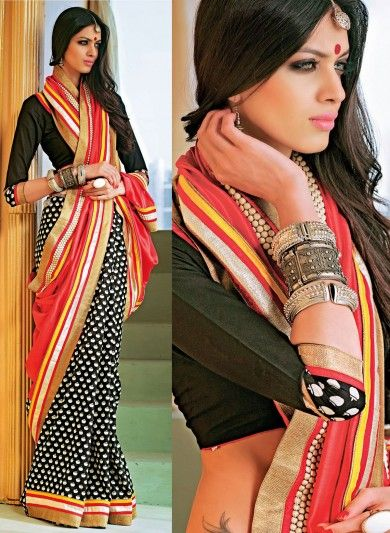 Black Cotton and Art Silk Half and Half Saree with Prints