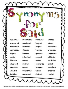 Worksheets Synonyms List For Kids 25 best ideas about said synonyms on pinterest of for english vocabulary