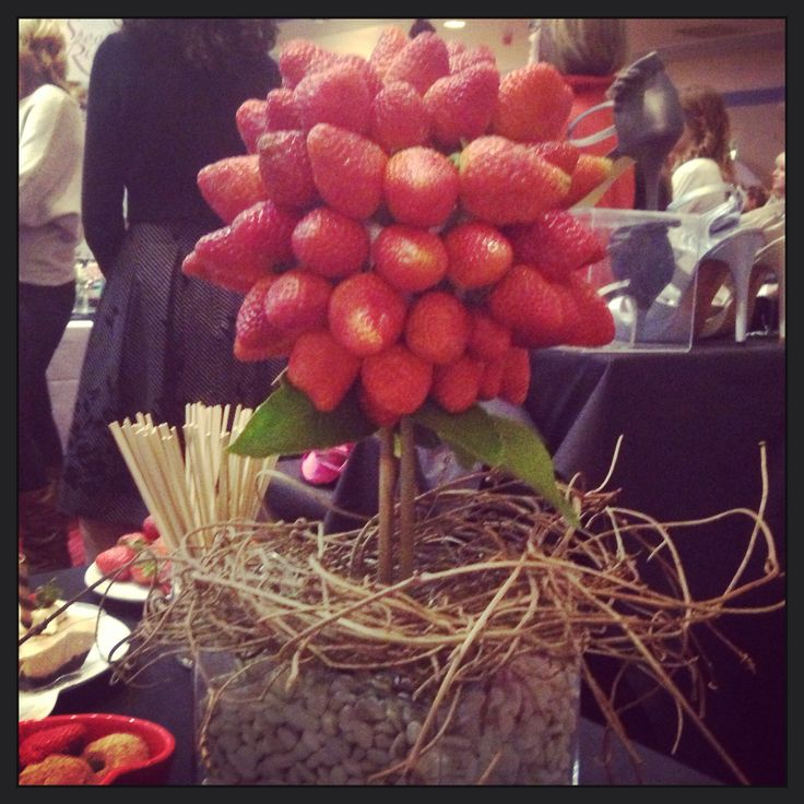 Strawberry tree I made this tree for a display .  Pick the strawberries off and dip into the chocolate fountain By me Bjs D'lites catering